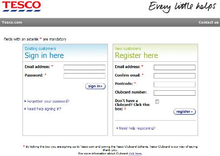Tesco registration