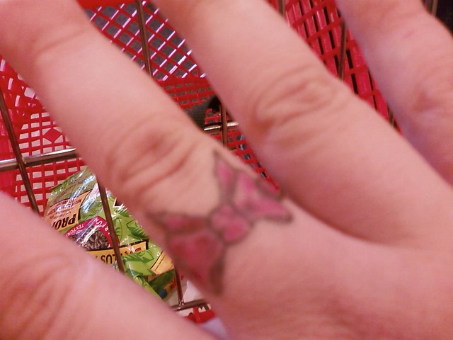 Bow tattoo on my RT middle finger. I love this tattoo, it means a lot to me.