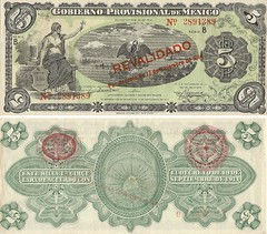 Mxico - 5 Pesos 1914 (Luis Pedroso) Tags: money mexico notes collection note notas currency nota banknote papermoney cedula coleco