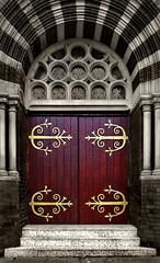 Fancy hinges (tootdood) Tags: street door hinge blackandwhite colour church sepia geotagged manchester fancy toned selective varley pentaxk200d 2009yip geo:lat=53492303 geo:lon=2214072