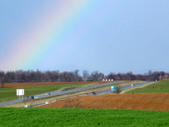 Rainbow Over a Road (Click to enlarge)