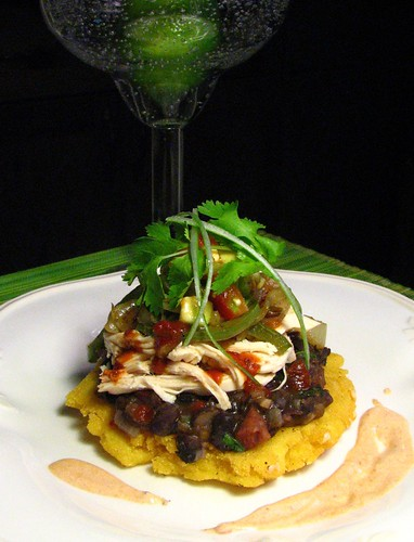 Chicken Sopes with Black Beans and  Chipotle Sauce