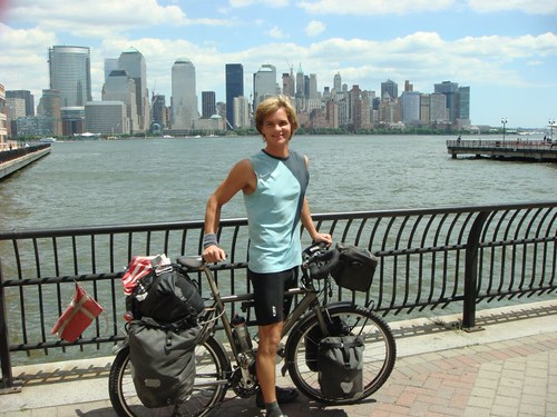 Me in Jersey City with Mahattan's skyline in the back across Hudson River.