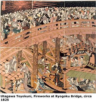 Utagawa Toyokuni, Fireworks at Ryogoku Bridge, circa 1825.