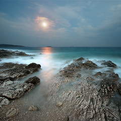 adriatic moon reflection (H o g n e) Tags: ocean longexposure blue sunset sea summer cloud moon seascape motion color colour reflection beach water rock stone night clouds dark landscape evening coast carved colorful mediterranean purple dusk horizon smooth shoreline violet croatia erosion explore pebble shore silence pebblebeach moonlight colourful geology adriatic rockformations carvedstone carvedrock smoothwater explored smoothsurface smoothstone bildekritikk smoothrock pprowinner silkwater