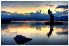 Yaegakihime (TheJbot) Tags: sunset sky lake reflection water statue rock japan clouds scum hdr breathtaking jbot suwa breathtakinggoldaward yaegakihime