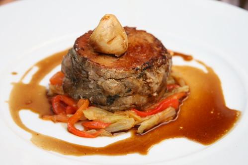Bistrot Le 7, Valence: le poitrine de veau, confite aux aromates, etuvée fondante de fenouils et poivrons rouges