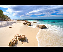 hyams beach (Pawel Papis Photography) Tags: ocean sky beach clouds bay coast sand rocks australia nsw hdr jervisbay sigma1020 3ex canon400d anawesomeshot hyemsbeach