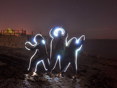 Fun with friends at night - Explore FP (Greg 50) Tags: longexposure lightpainting nightshot led explore torch frontpage startrails d90 urville nacqueville