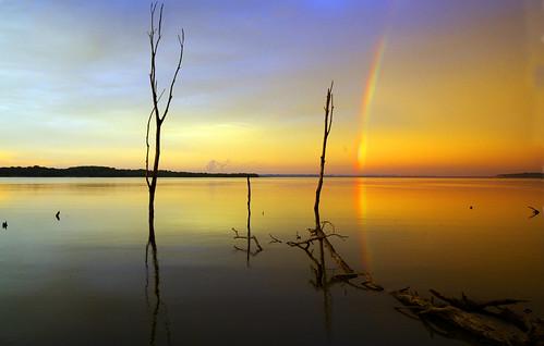 フリー画像| 自然風景| 湖の風景| 虹の風景| 夕日/夕焼け/夕暮れ| アメリカ風景|      フリー素材|