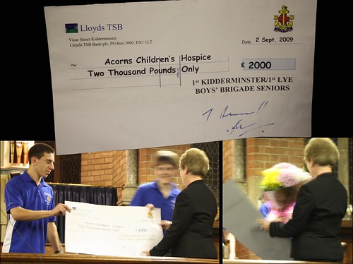 Presentation of the Cheque and flowers