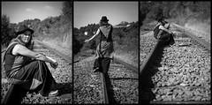 ..:: Raillerie ::.. (Yoggibat) Tags: blackandwhite white black hat girlfriend noir noiretblanc sigma rail chapeau hippie blanc tryptique copine limousin triptychs chemindefer 2470 hautevienne babacool voieferrée choups lasériedusamedi sigma2470mmf28dgmacroex rilhacrancon