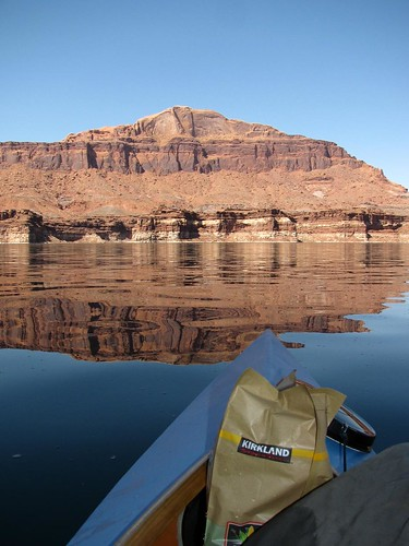 Me, a kayak, and a big bag of chips on Lake Powell in Utah