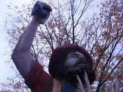 peeling statue