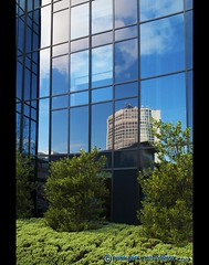 reflection (mcPhotoArts™) Tags: uk greatbritain blue autumn england sky reflection green glass architecture facade bush birmingham unitedkingdom herbst himmel gb architektur grün blau shrub bushes reflexion spiegelung shrubs glas strauch busch fassade reflektion skycraper wolkenkratzer glasfassade geotagging sträucher büsche canoneos400d sigma1770mm2845dcmacro hyattregencybirmingham grosbritannien photoshopcs4 ©bumblebeephotografix vereinigteskönigreichgrosbritannien