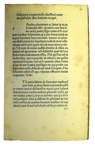 First page of text from Barzizius, Gasparinus: Epistolae
