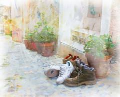 Time to Rest your Feet (Terry Pellmar) Tags: france texture nice shoes sneakers entry musings peillon hikingboots artistictreasurechest mygearandme mygearandmepremium mygearandmebronze ringexcellence enteredinsyb