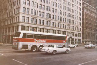 "Northbound Trailways ""Eagle"" motorcoach on Michigan Avenue. Chicago Illinois. June 1986."