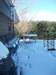 Peace. (loveiswritten) Tags: winter snow cold tracks peaceful deck windchimes