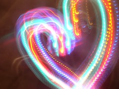 Laser Light Heart (PaperBouquet of Mars) Tags: light rainbow trails lighttrails streaks
