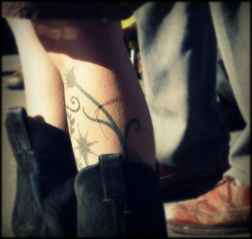 boots and shoes and flower tattoos