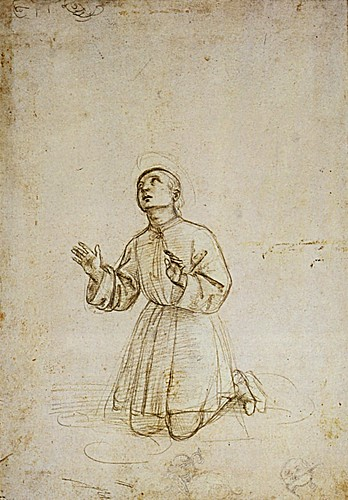 1503  Raphael    A kneeling youth  Metalpoint and cream prepared paper  26,5x18,4 cm  otam