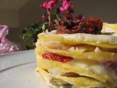 Lasagnetta con triglia carciofi e pomodorini