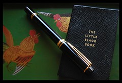 black leather typography gold glasses words fountainpen waterman adressbook stylograph