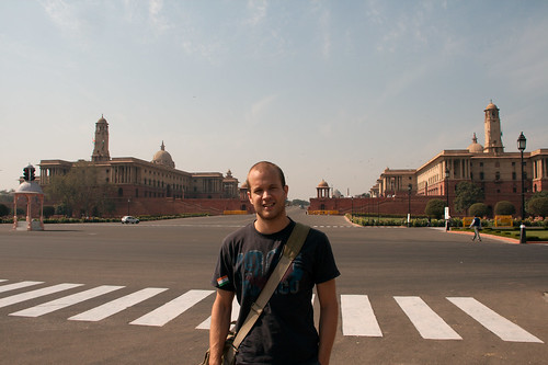 Christian in front of the impressive government buildings at the end of the Rajpath
