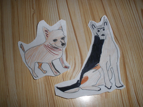 H's Chihuahua & German Shepherd drawings, for a school project