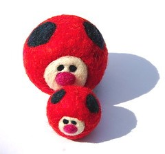 Mama and Baby Felted Ladybugs (asherjasper) Tags: red baby black wool ball insect children toys toddler waldorf ladybug boygirl easterbasket needlefelted