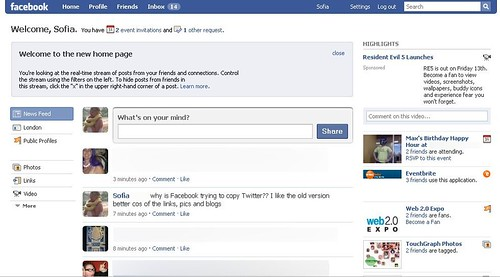 Facebook New Homepage