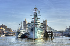 HMS Belfast (almonkey) Tags: city sun london thames towerbridge river spring nikon ship 1938 bluesky hmsbelfast bow handheld guns battleship stern hdr touristattraction warship bough 5xp omot d700 bloodygreatship
