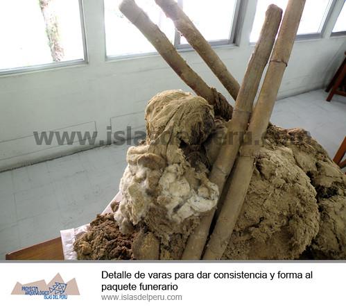 Detalle de varas para dar consistencia y forma al paquete funerario