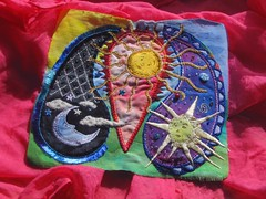Celestial Paisley WIP (cymberrain) Tags: pink blue red orange sun moon color green art sol yellow clouds lune stars rouge soleil beads colorful purple needlework felting embroidery sewing workinprogress hippy wip funky needlefelting nuage paisley applique couture embellished etoile couleur handstitched dyed celestial celeste creations wallhanging handdyed broderie saturatedcolor artsplastiques fancywork brightcolored paintingonfabric couleursvives fancyneedlework loisirscreatifs celestialpaisleys stitchbyhand teintureartisinale
