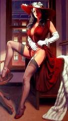 Hildebrandt (Mr. Wilson's Rules) Tags: stockings highheels dress legs desk babe heels busty garters buxom gams longgloves 38d