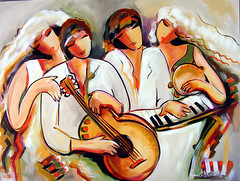 All Together Now 760x1015mm (Ronnie Biccard) Tags: ladies friends people music woman abstract colour love girl beautiful beauty lady female cat fun women pretty acrylic emotion guitar contemporary joy piano couples romance lovers human fantasy violin cello harmony figure impressionism serene positive cheerful joyful playful pleasure stylized impressionistic figurative whimsical musicalinstruments