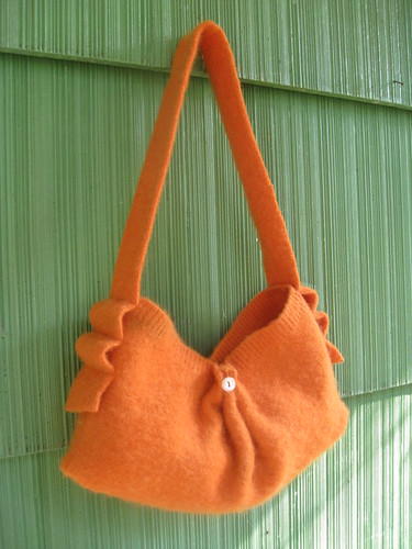 Recycled sweater purse (orange)