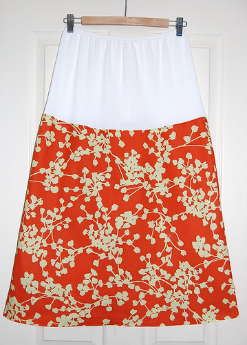 Simple a line skirt with over the bump stretchy panel