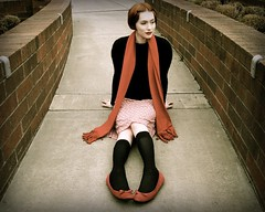 April Chill In the Air (Jade M. Sheldon) Tags: life red selfportrait cold brick me oregon scarf self vintage pose concrete pattern wind pavement tights skirt pale clear jade sp sit april redlips cashmere wardrobe knees blows redhair contemplative chill tone bold marktwain aprilfoolsday balletflats shuttersisters jademsheldon