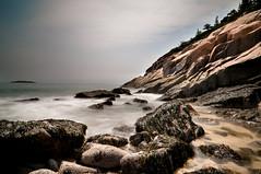 Shoreline. (Leo Druker) Tags: trees mist nature water fog coast waves maine shoreline tokina1224 granite coastline acadia sandbeach d300