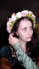 Garland (Agamid) Tags: leica portrait woman green girl abbey museum self costume australia garland medieval tournament queensland caboolture dlux3
