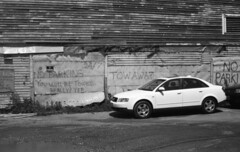 No Parking!! (doglock75) Tags: bw sign portland noparking maine d76 fortepan400 yashicaelectro35gt heyimeanit