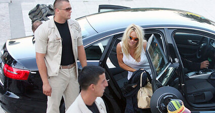 Pam Anderson in an Audi