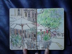 Place du Change (Vanadisa) Tags: cameraphone urban holiday france colour moleskine public caf pen pencil ink square sketch cafe lyon journal sketchbook 2009