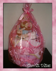 Diaper/Nappy Cake (Choclit D'lites) Tags: baby girl cake shower nappy wrapped diaper gift