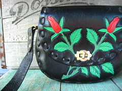 tooled and painted roses saddle bag purse