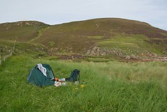 Kearvaig Camp (Sandy Beach Cat) Tags: uk camp beach grass landscape outdoors scotland tent wilderness durness capewrath kearvaig durnesscapewrath
