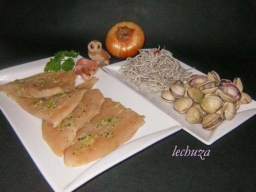 Castañeta con almejas y gulas-ingrs.