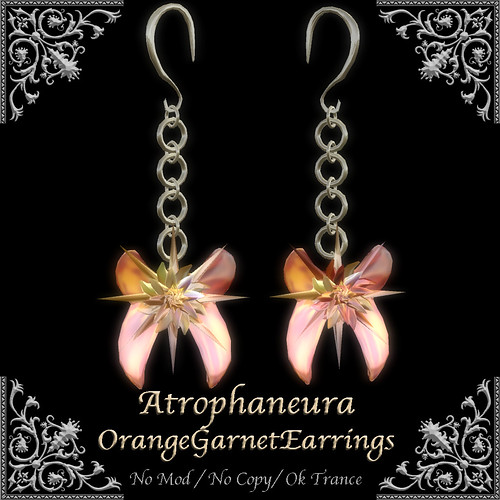 Atrophaneura OrangeGarnetEarrings
